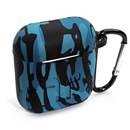 reputable site e4e30 5d771 PeepCase AirPods Case Cover for AirPod 1 & 2 Blue Camo Camouflage with  Wireless Charging Support and Keychain