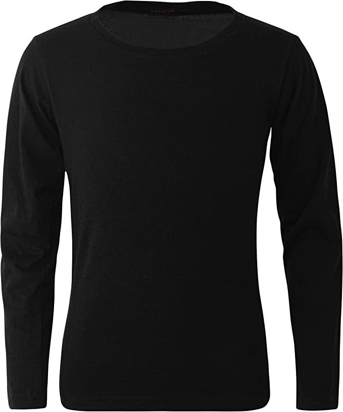 Childrens Long Sleeve T 100/% Cotton Basic Round Neck Long Sleeve Boys Girls Kids /& Toddler T-Shirt