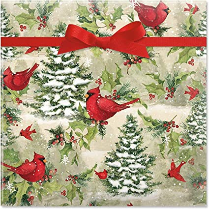 Amazon Com Current Tree Cardinal Christmas Jumbo Rolled Gift Wrap 1 Giant Roll 23 Inches Wide By 35 Feet Long Heavyweight Tear Resistant Holiday Wrapping Paper Home Kitchen