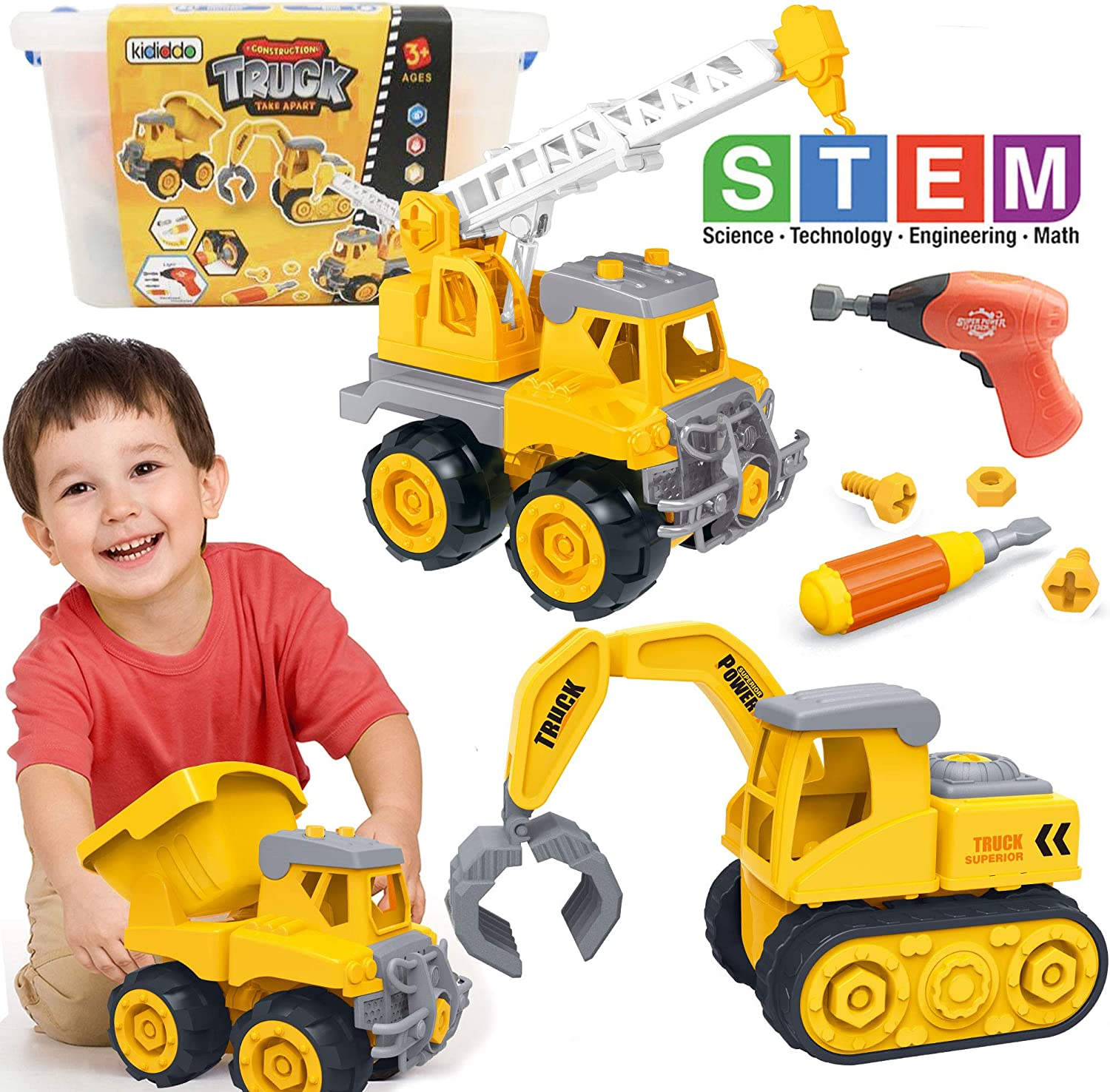 Kididdo Take Apart Truck for Boys and Girls,Set of 3 Construction Vehicles for Kids, Build a Dump Truck, Excavator and Crane, Take a Part Truck Toy with Drill and Tools for Toddlers 2-5 Years Old 81CIasQxbKL