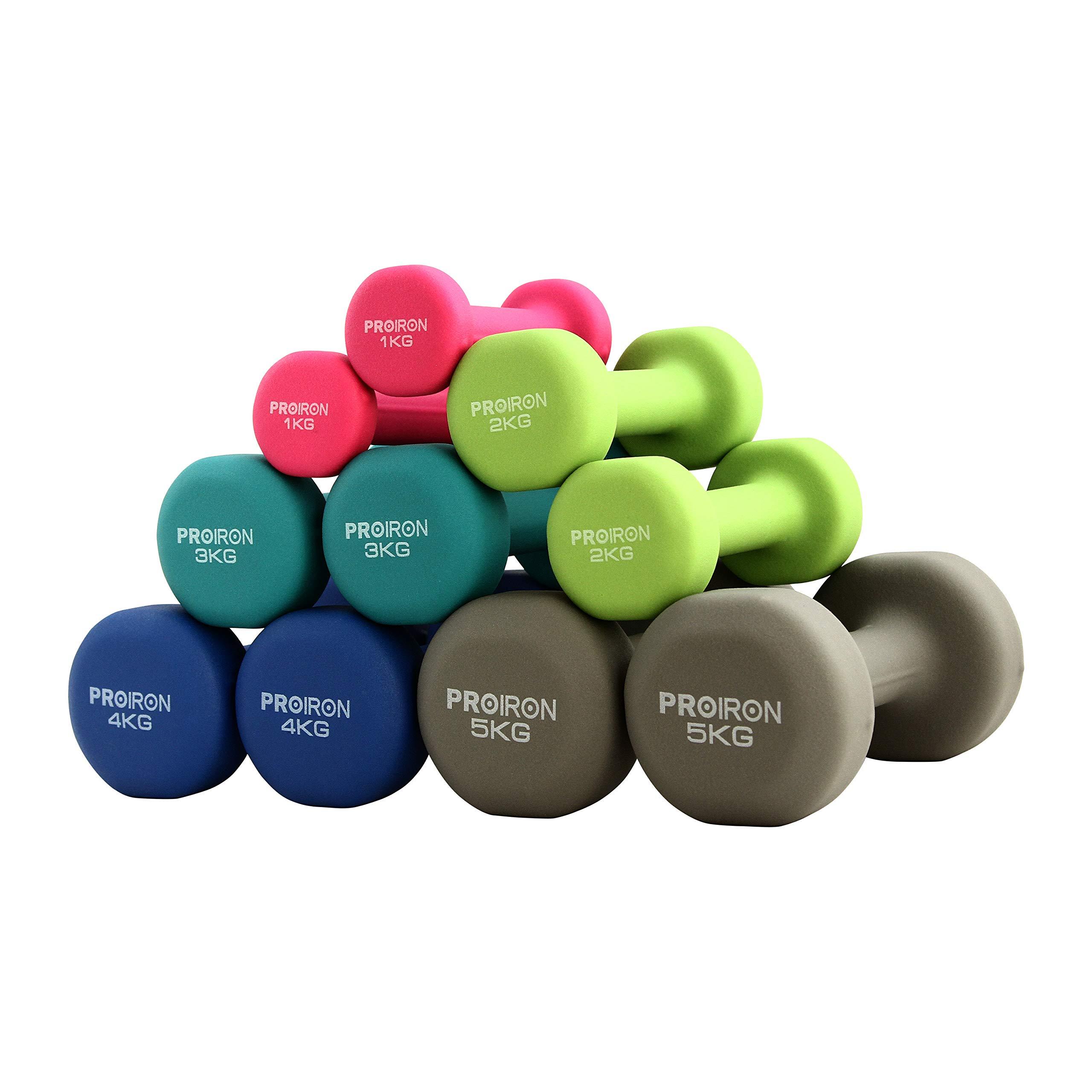 PROIRON Mancuernas de Neopreno -Mancuernas con Revestimiento de Neopreno 2 x 2 kg product image