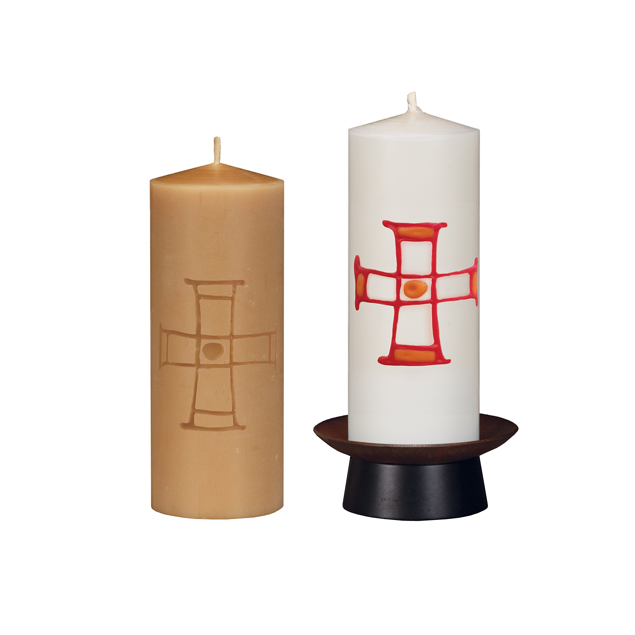 Beeswax Christos™ Candle Set; 2-1/2'' x 6'' candles with base; Alabare™ design in red/orange. Handcrafted in New England. Made in America. by Marklin Candle