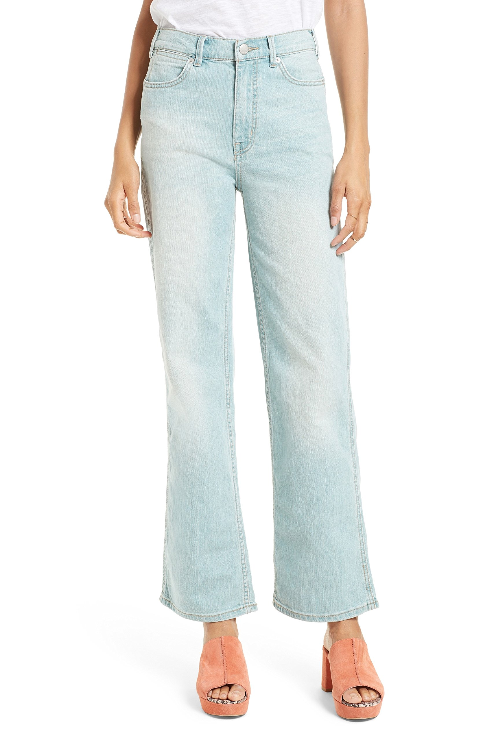 Free People Women's High Rise Straight Flare Leg Jeans (Glass Blue, 25)