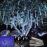 Luce Natale LED Pioggia Nevicata – VICTORSTAR 30CM 10 Tubi 360 LED Due Facce di Illuminazione Impermeabile, 3m Lunghi Fili Luci Pioggia di Meteore and Luci Nevicata per Matrimonio, Partito, Natale, Xmas, Paesaggio Albero Decorazione (Luce Bianca)