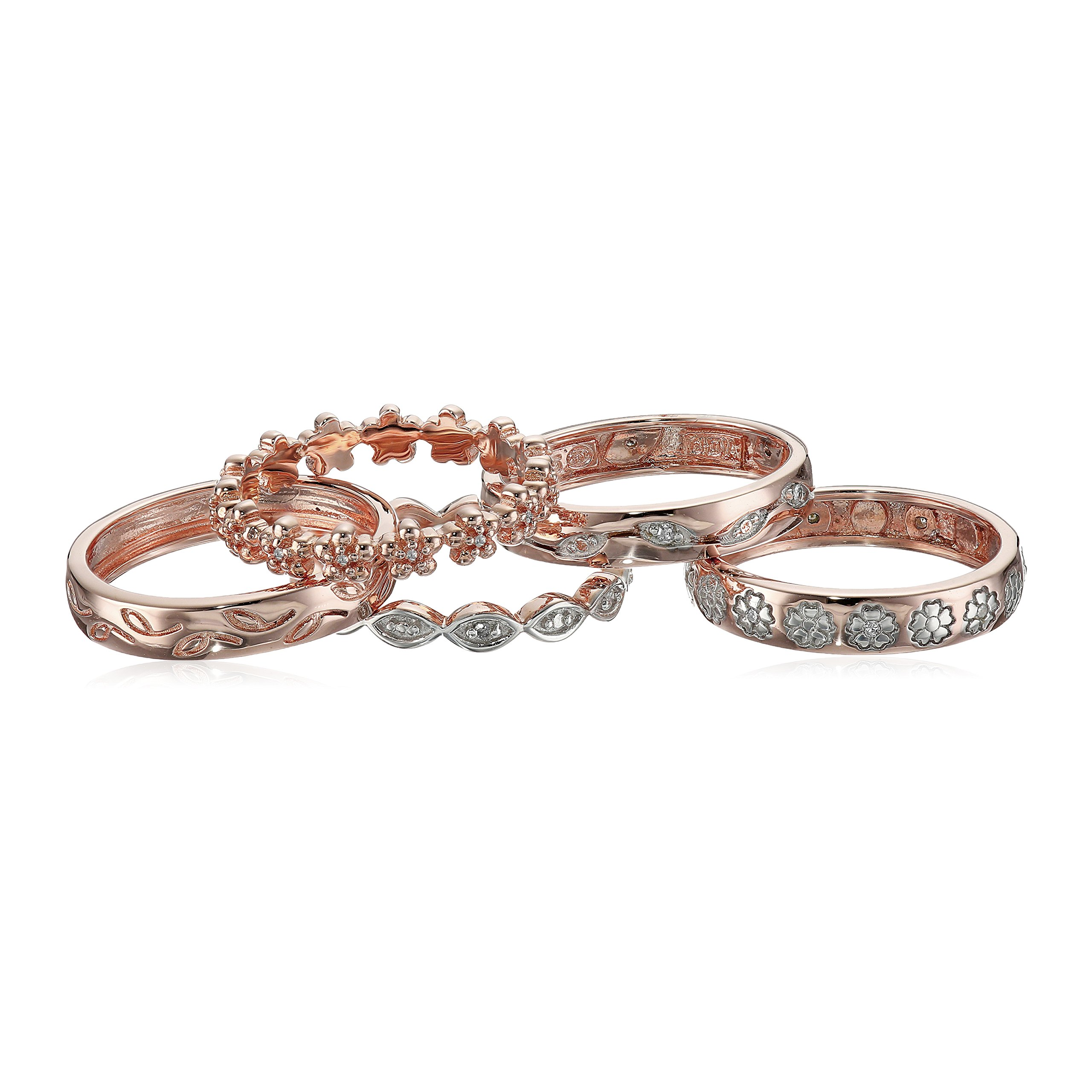 14k Rose Gold Over Sterling Silver Five Diamond Rings Set (1/10 cttw, I-J Color, I2-I3 Clarity), Size 8