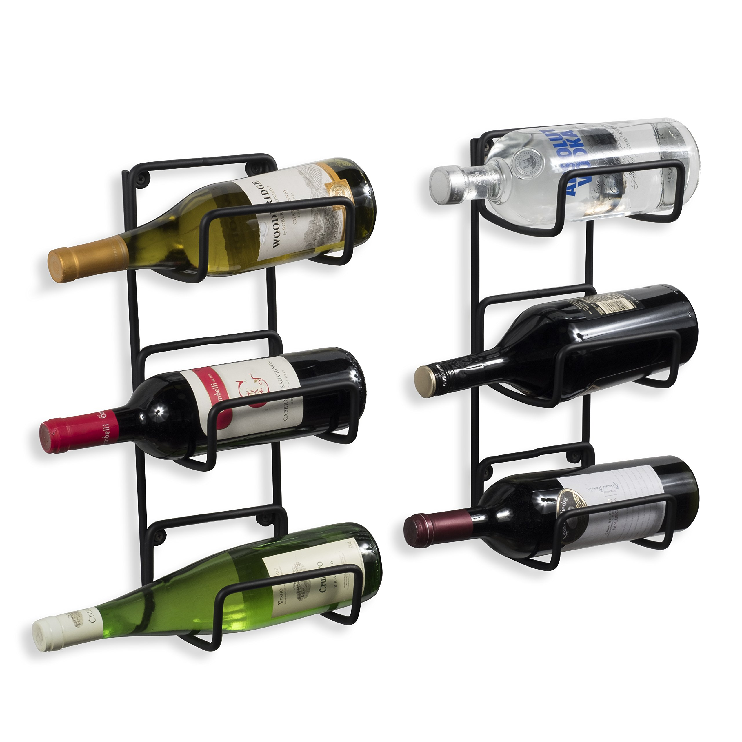 Wallniture Wrought Iron Wine Rack – Rustic Style 6 Bottle Holder Display in 2 Parts Black by Wallniture