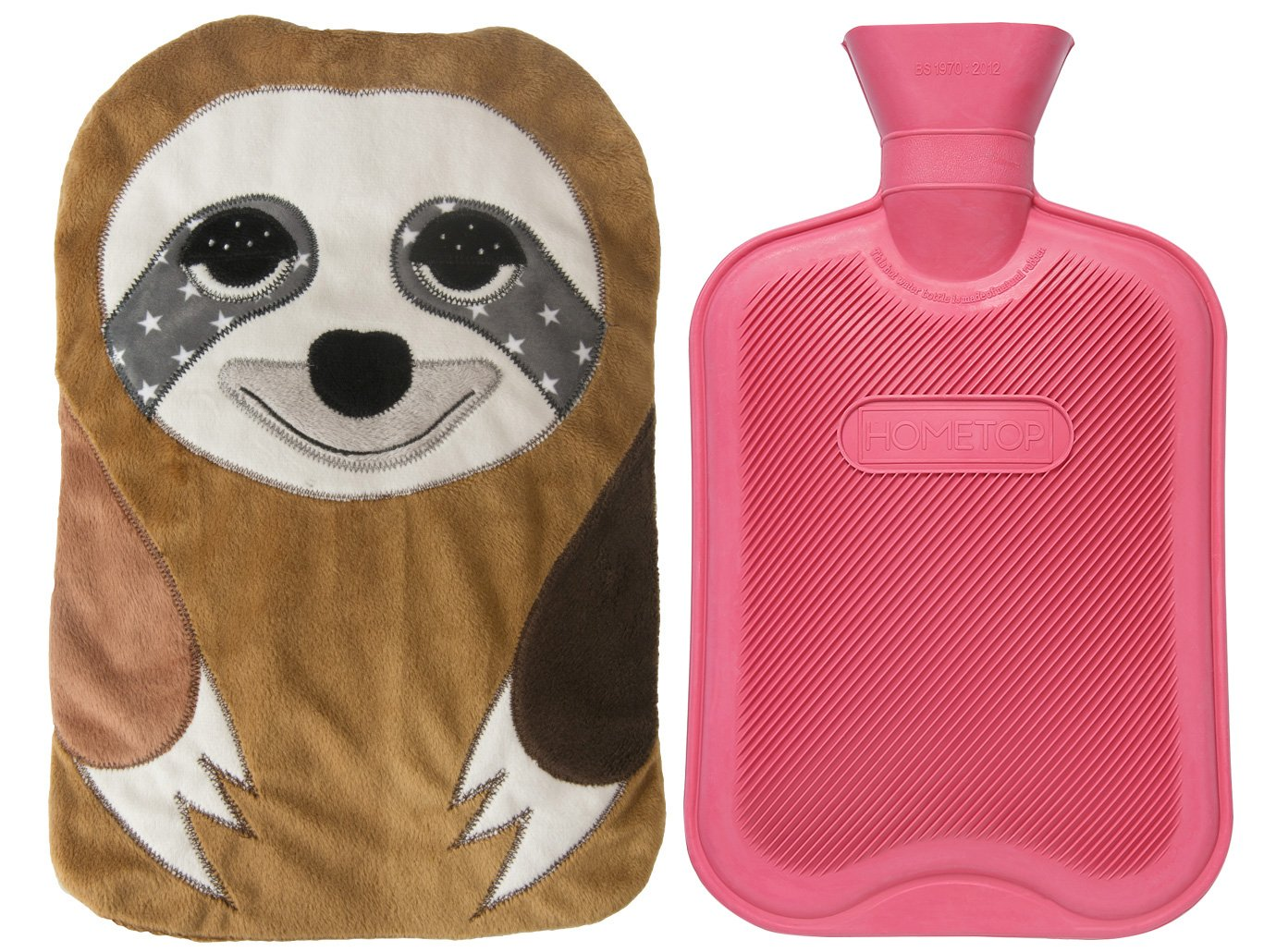 HomeTop Classic Rubber Hot Water Bottle with Cute Fleece Sloth Cover for Cramps and Pain Relief (Mr. Sloth/Red)
