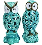 Benzara Decorative Ceramic Owl, Blue with Well Design, 11-Inch, Set of 2