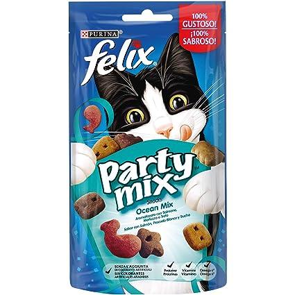 Purina Felix Party Mix Oceano Snacks, golosinas y chuches para gato 8 x 60 g