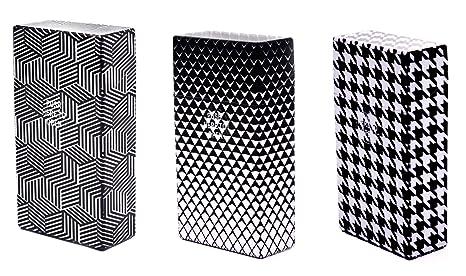 3 X Portasigarette Plastica Nero E Bianco Per 100 Mm Sigarette