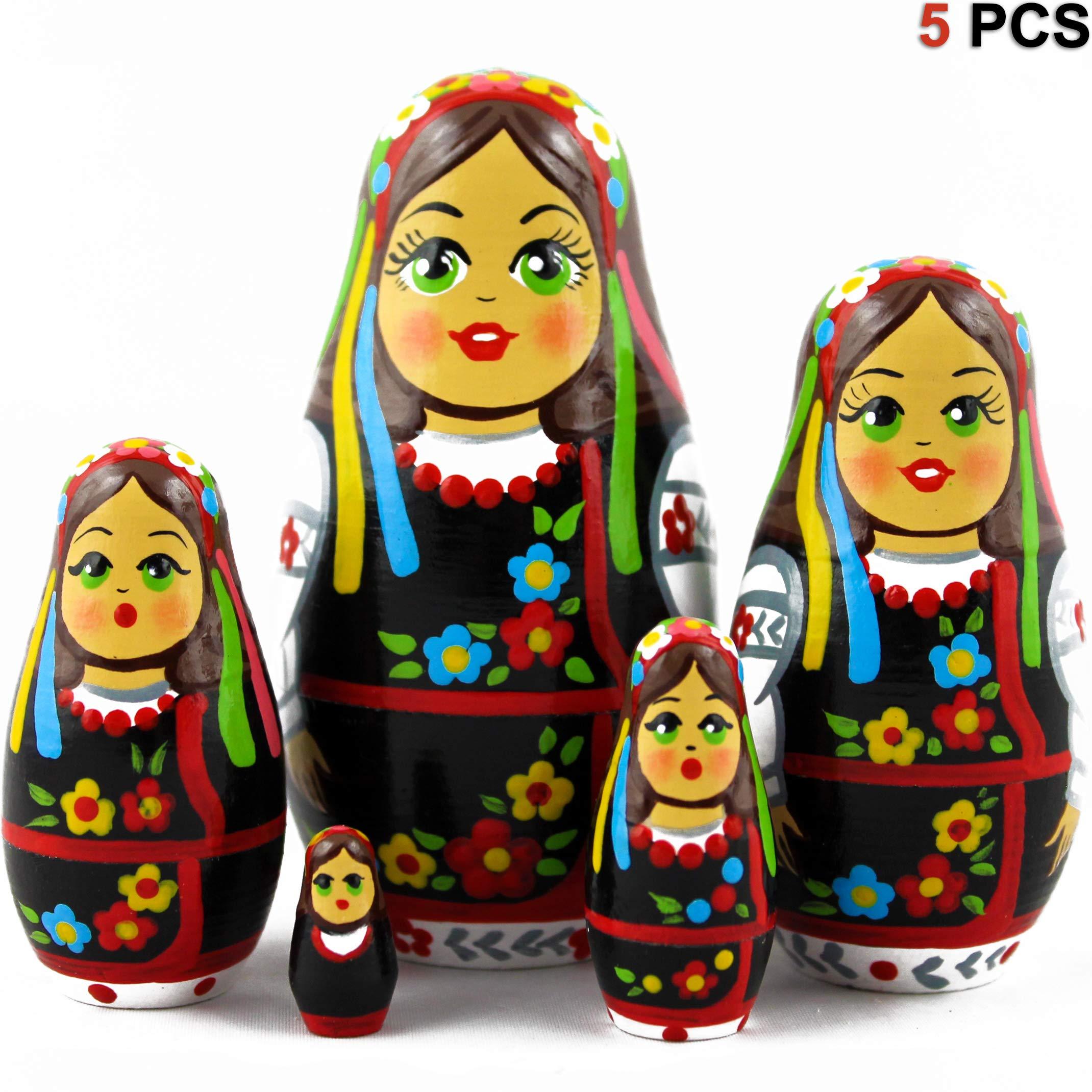 MATRYOSHKA&HANDICRAFT Ukrainian Nesting Dolls 5 pcs Wooden Souvenir by MATRYOSHKA&HANDICRAFT