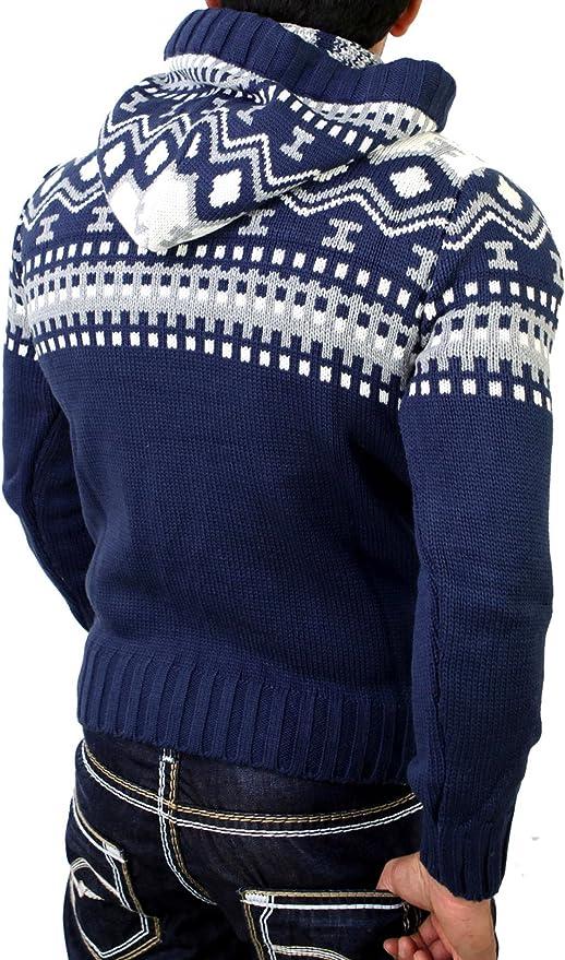 Reslad Norweger Pullover Herren Winterpullover Kapuzenpullover | Strickpullover für Männer RS 3013