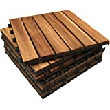 Piastrelle in legno massiccio di acacia, a incastro, per portico, veranda, balcone e giardino, 30x 30x 2,5cm, quadrate Brown