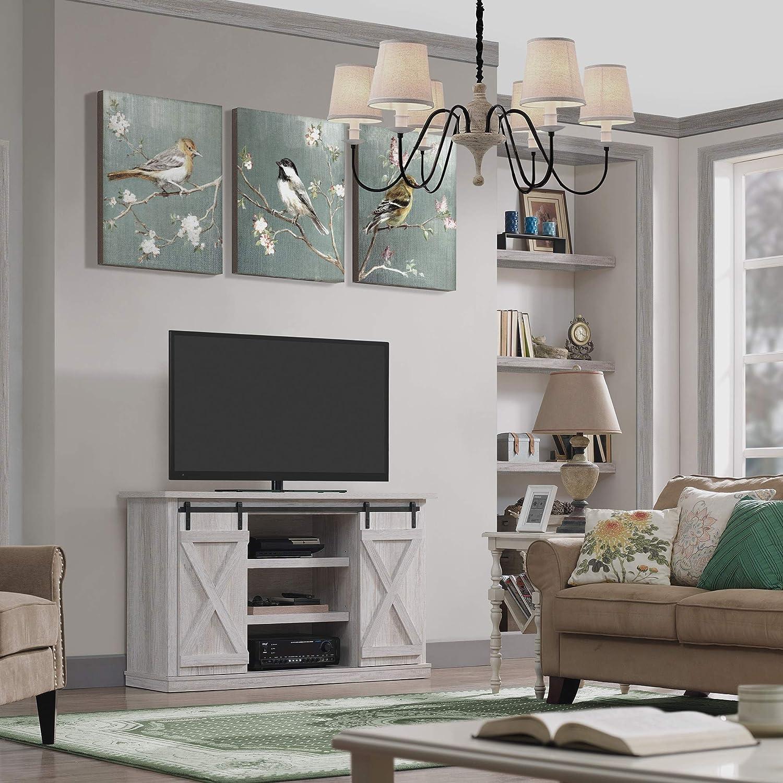 Pamari TC54-6127-TPG03 Wrangler Sliding Barn Door TV Stand Off-White