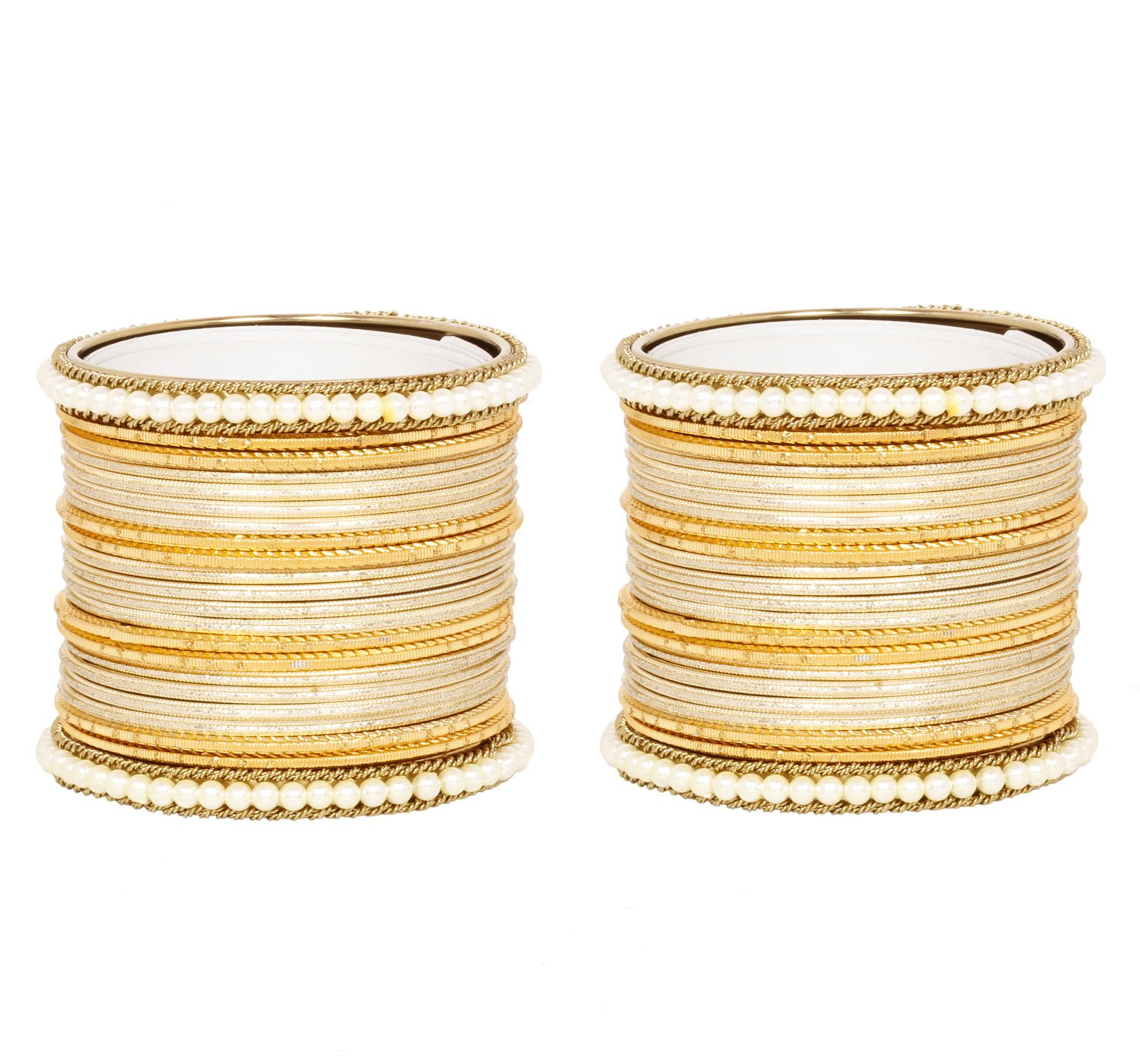 Ratna Fully Golden Bangles Set with pearl kada 44 Pieces Traditional Party wear Fashion Jewellery (2.6)