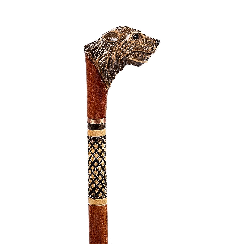 Details about  /Handmade Walking Stick Wolf Head Copper Antique Metal Handle Wooden Vintage Cane