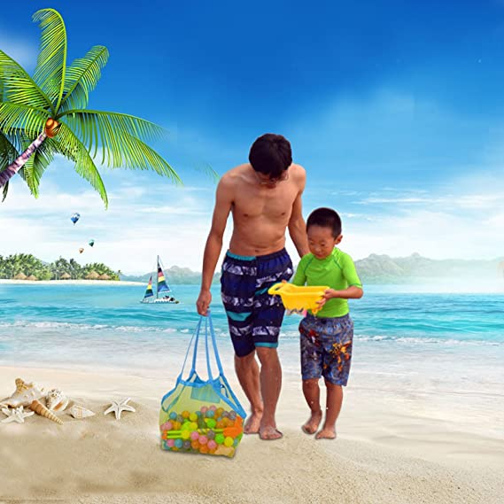 KAKOO Bolsa de Malla de Playa Juguetes de Playa Shell Bolsa de Almacenamiento Con Bolsa de Teléfono Impermeable Para Juguetes Nadar: Amazon.es: Jardín