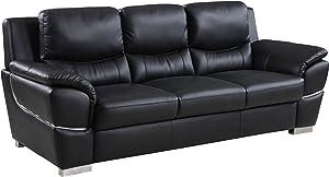 Blackjack Furniture 4572 Binion Collection Faux Leather Match Upholstered Modern Living Room, Sofa, Black