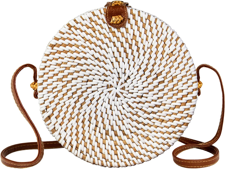 8 White MadeTerra Rattan Crossbody Bags for Women Square Woven Wicker Straw Purses