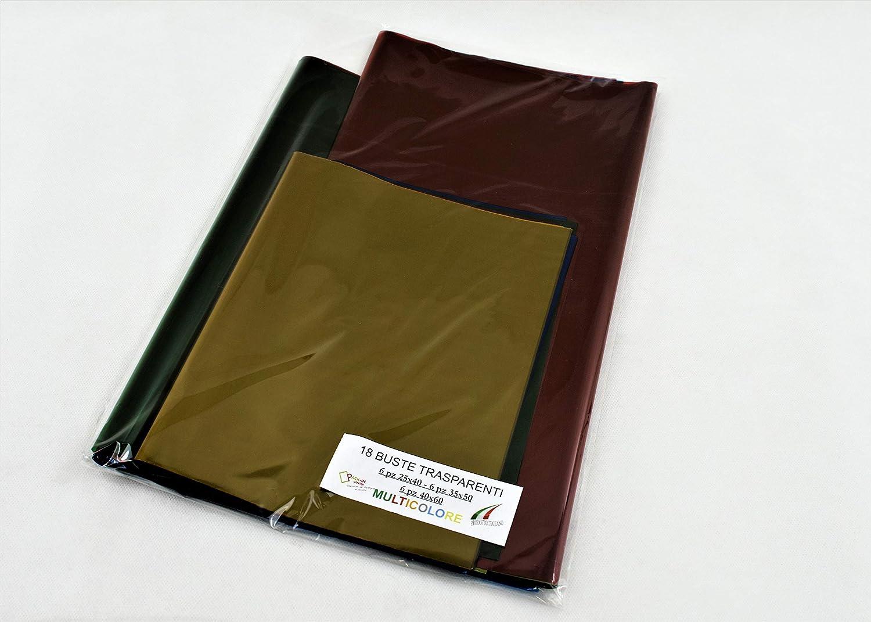 con o senza striscia adesiva MIX COLORI, 20x35 120 pz VARIE MISURE e COLORI BUSTE TRASPARENTI COLORATE adatte anche per uso alimentare