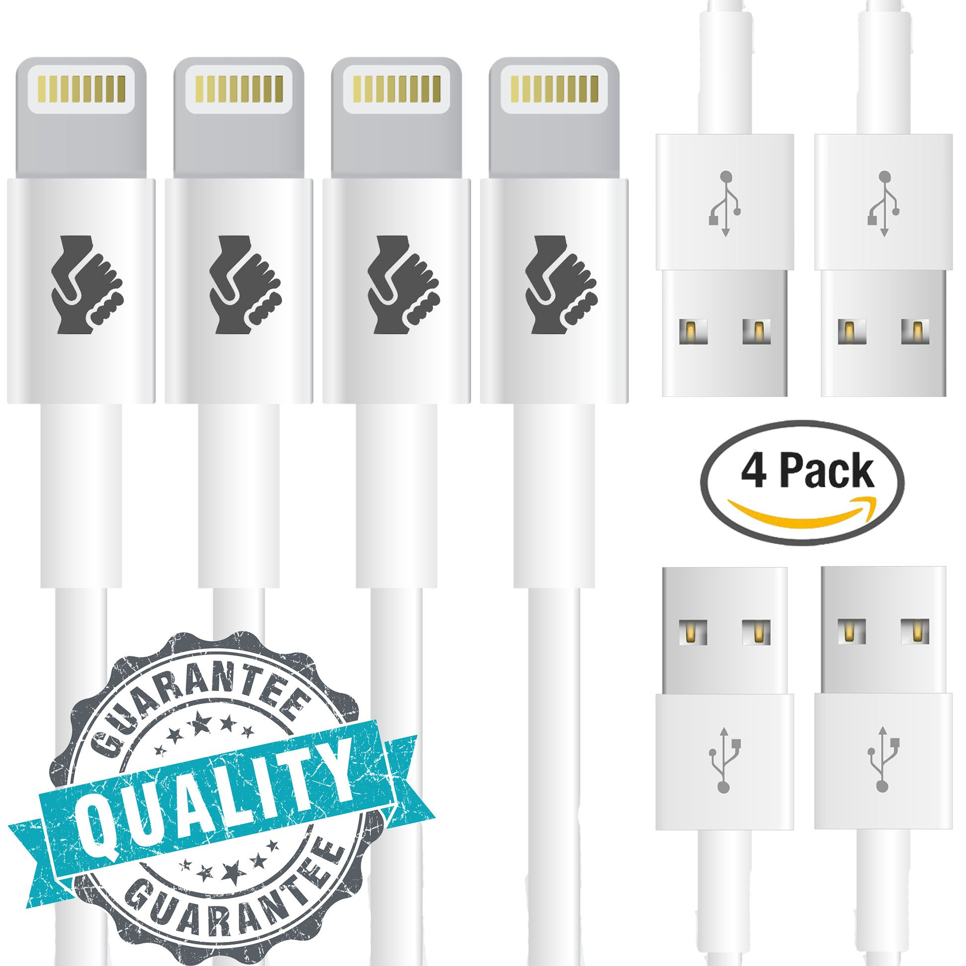Trusted Cables (4 Pack) [Apple MFi Certified] Newest iPhone Cord Lightning Cable Charging Connector - Fast Syncing Speeds, iPhone 5/6/7/8/X and iPad(Compatible with Latest iOS)(4x 1m/3ft Cord) by Trusted Cables
