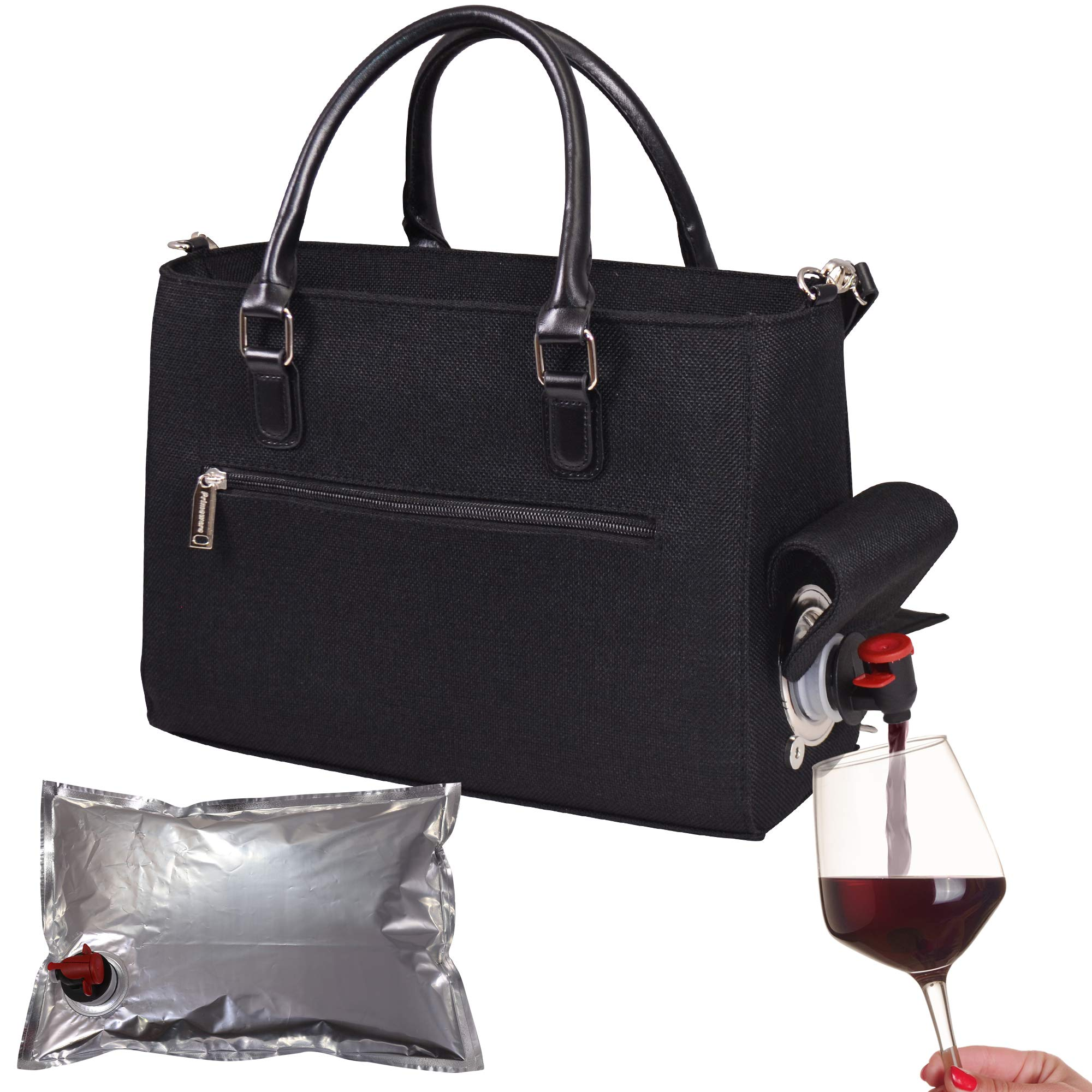 Primeware Insulated Drink Purse w/ 3L Bladder Bag | Thermal Hot and Cold Storage | Portable Drinking Dispenser for Wine, Cocktails, Beer, Alcohol | PU Leather Finish (Black Linen)