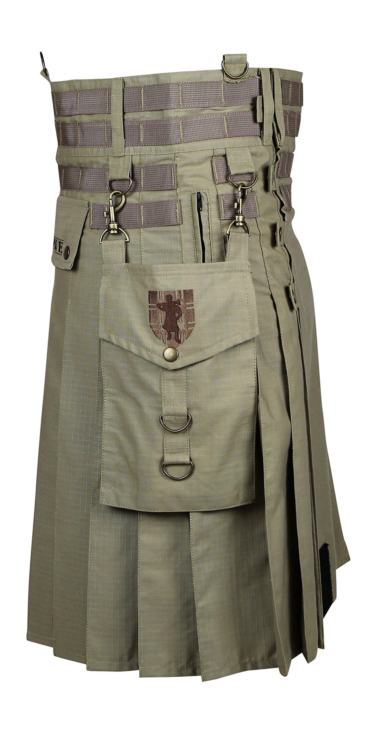 Damn Near Kilt 'Em Men's Tactical Kilt Medium-Large Khaki by Damn Near Kilt 'Em (Image #2)
