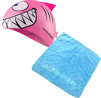 Aqua Speed - Set Shark Niños Gorro de baño + Toalla de Microfibra, Model: