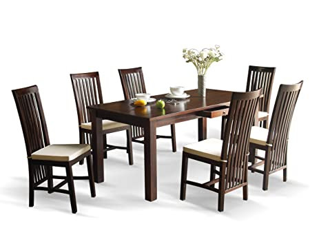 Dark Teak Wood Dining Table And Chairs   1.8m Dining Table And 6 High Back