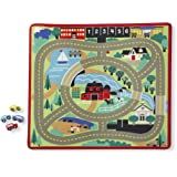 Melissa & Doug 9400 Round The Town Road Rug and Car Activity Play Set with 4 Wooden Cars (39 x 36 inches),Green
