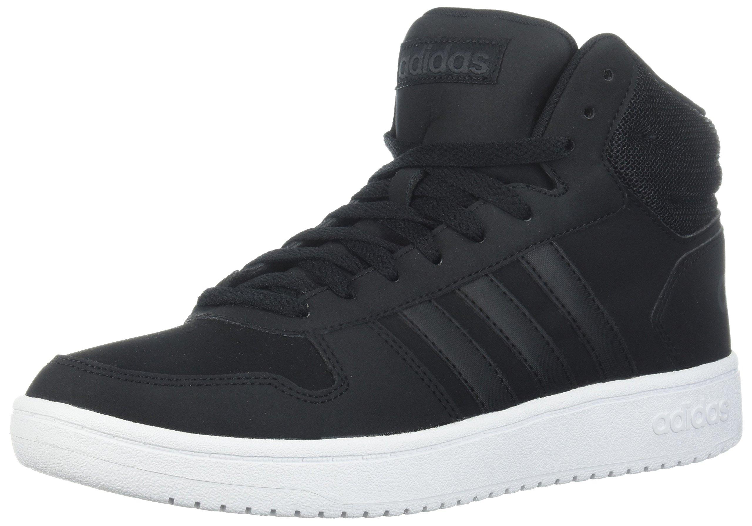 adidas Men's Hoops 2.0 Mid Sneaker, Black/Black/Carbon, 4 M US
