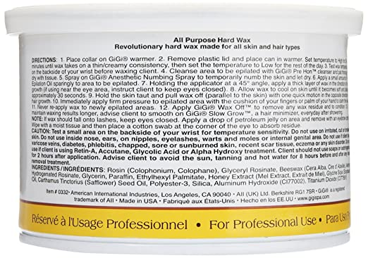 Amazon.com : Gigi All Purpose Hard Wax Honey Hair Removal Wax 396 ...