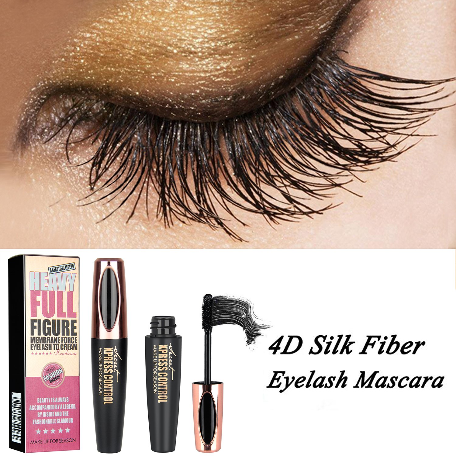 Long Lasting Voluminous 4D Silk Fiber Makeup Eyelash Mascara Extension Black Thickening Lengthening Eyelashes