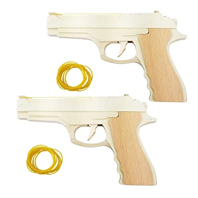 Adventure Awaits! - 2-Pack Rubber Band Gun - Quality Wood & Handmade - Easy Load - 8 Rubber Bands per Set: Toys & Games