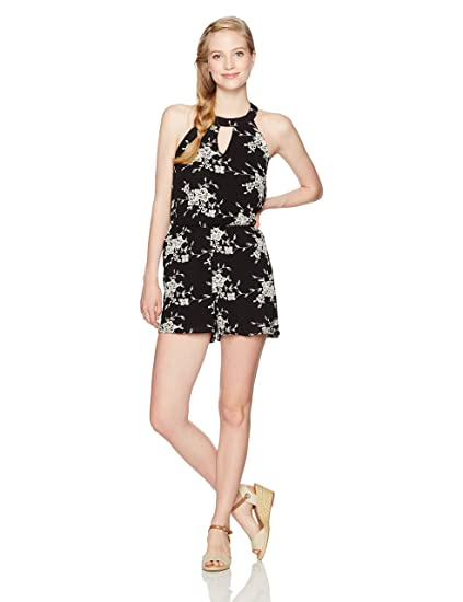 d2c6ae8ce45 Amazon.com  My Michelle Women s Circle Neck Romper with Keyhole Front and  Bar Back  Clothing