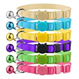 Blaoicni Cat Collars Nylon Soft Colorful Adjustable Breakaway Safety Kitten Collars with Bell 6pcs/Set
