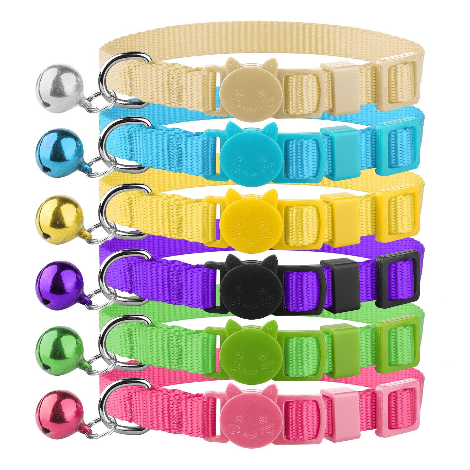 Blaoicni Cat Collars Nylon Soft Colorful Adjustable Breakaway Safety Kitten Collars with Bell 6pcs/Set by Blaoicni