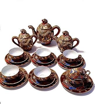 21 Piece Satsuma Moriage Japanese Dragonware Tea Set with