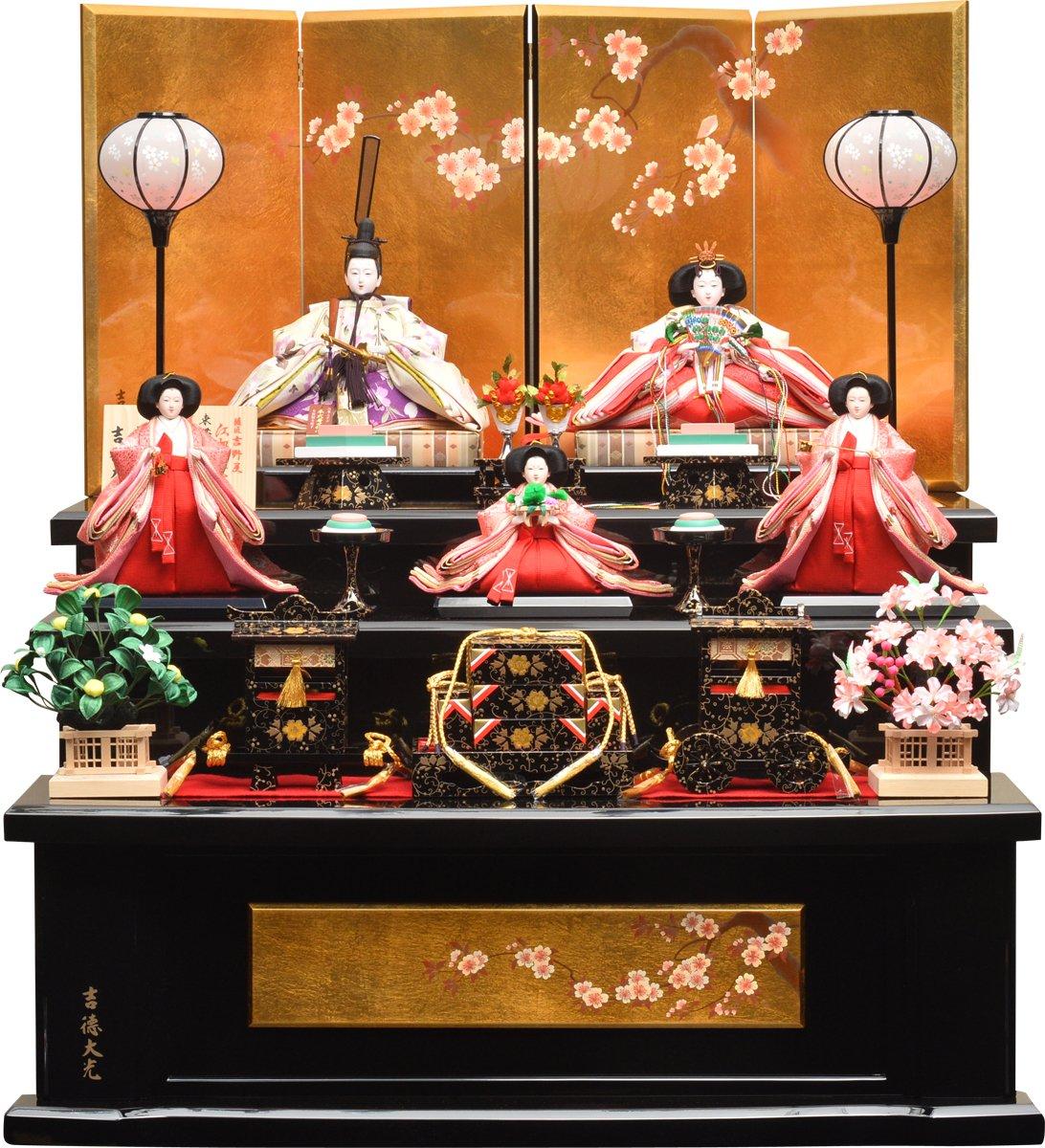 雛人形 吉徳大光 三段飾り 五人飾り 「江都みやび」 吉徳三段飾り 間口83×奥行84×高さ95cm   B01MZ2KR8T