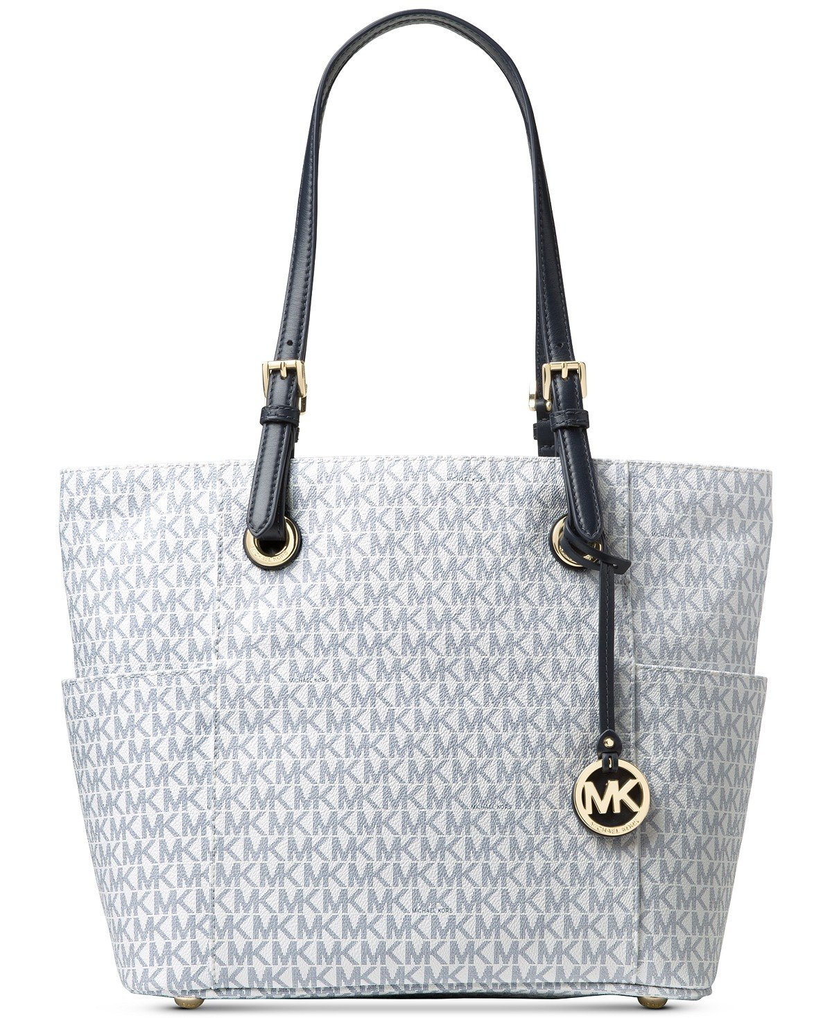 Michael Kors Women's Jet Set Travel Small Logo Tote Bag (Optic White/Navy)