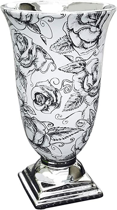 "8"" White Ceramic Indoor Flower Vase – White Vase with Silver Trims, Flower Vases for Centerpieces, Modern Vase for Home Decor, Display Vase Set Decorative for Living Room, Office & Wedding Reception"