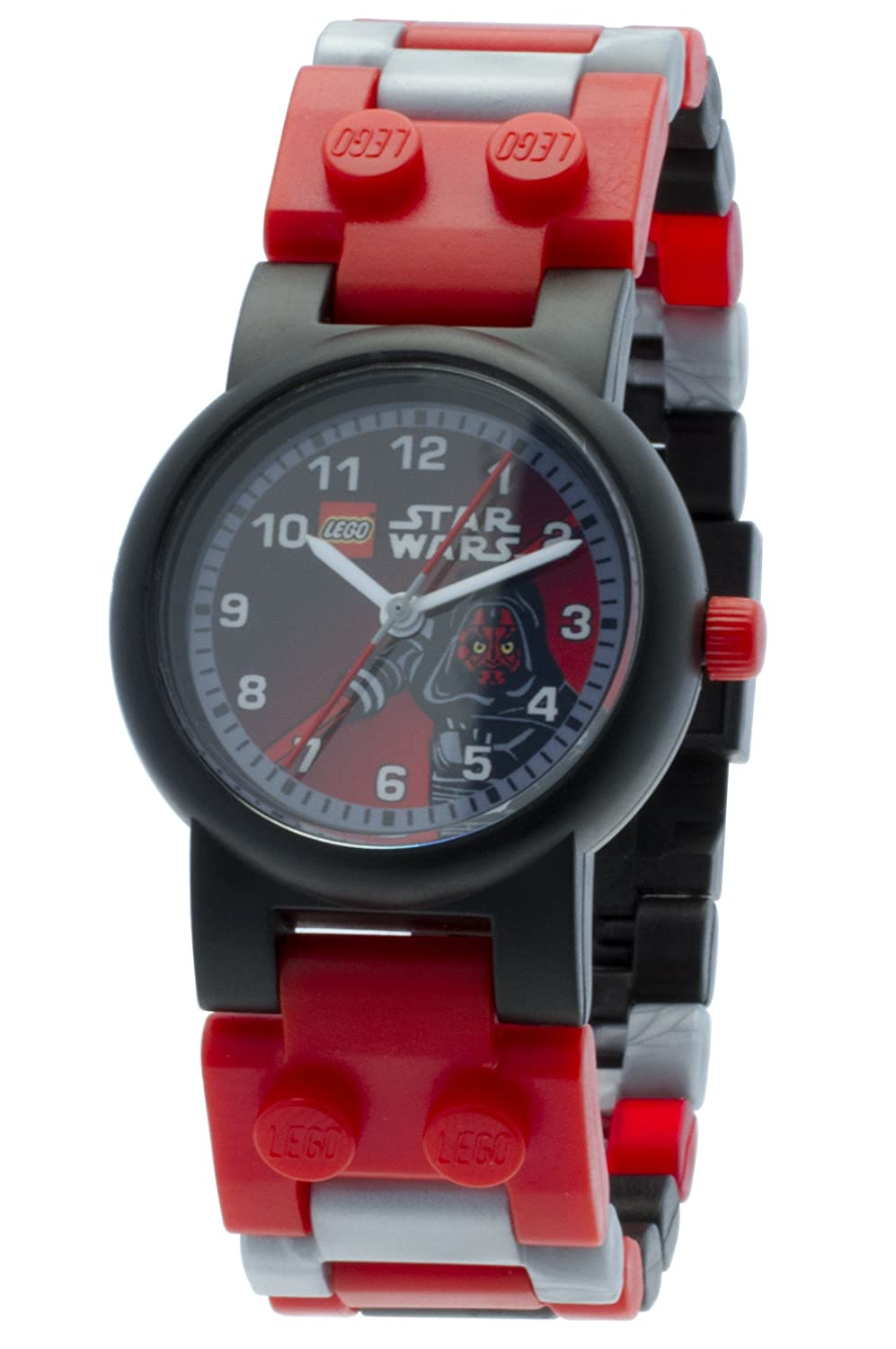 LEGO Star Wars Darth Maul Kids Buildable Watch with Link Bracelet and Minifigure | black/red | plastic | 28mm case diameter| analog quartz | boy girl | official