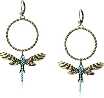 "Betsey Johnson ""Throwback Betsey"" Pave Dragonfly Gypsy Hoop Earrings"