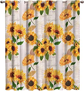 "Futuregrace Elegant Blackout Curtains by, Sunflower with Newspaper Background Livingroom Bedroom Darkening Window Draperies & Curtains Home Office Decor 52"" W by 63"" L"