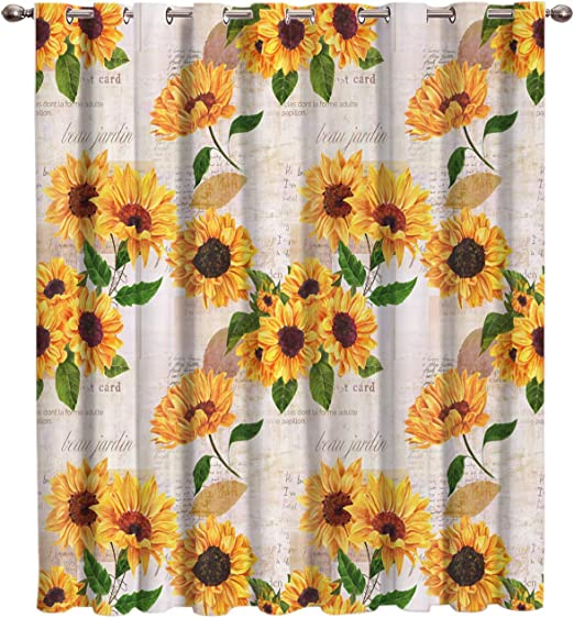 Amazon Com Futuregrace Elegant Blackout Curtains By Sunflower With Newspaper Background Livingroom Bedroom Darkening Window Draperies Home Office Decor 52 W 84 L Kitchen