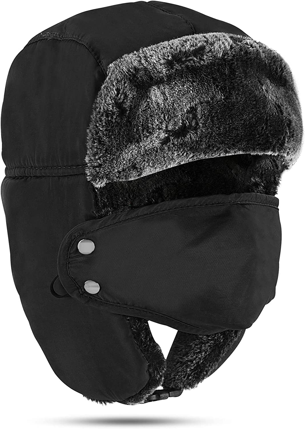 Winter Face Mask For Men - Russian Style Hat Ushanka, Trooper, Trapper Hats for Men and Women - Windproof Ski Mask