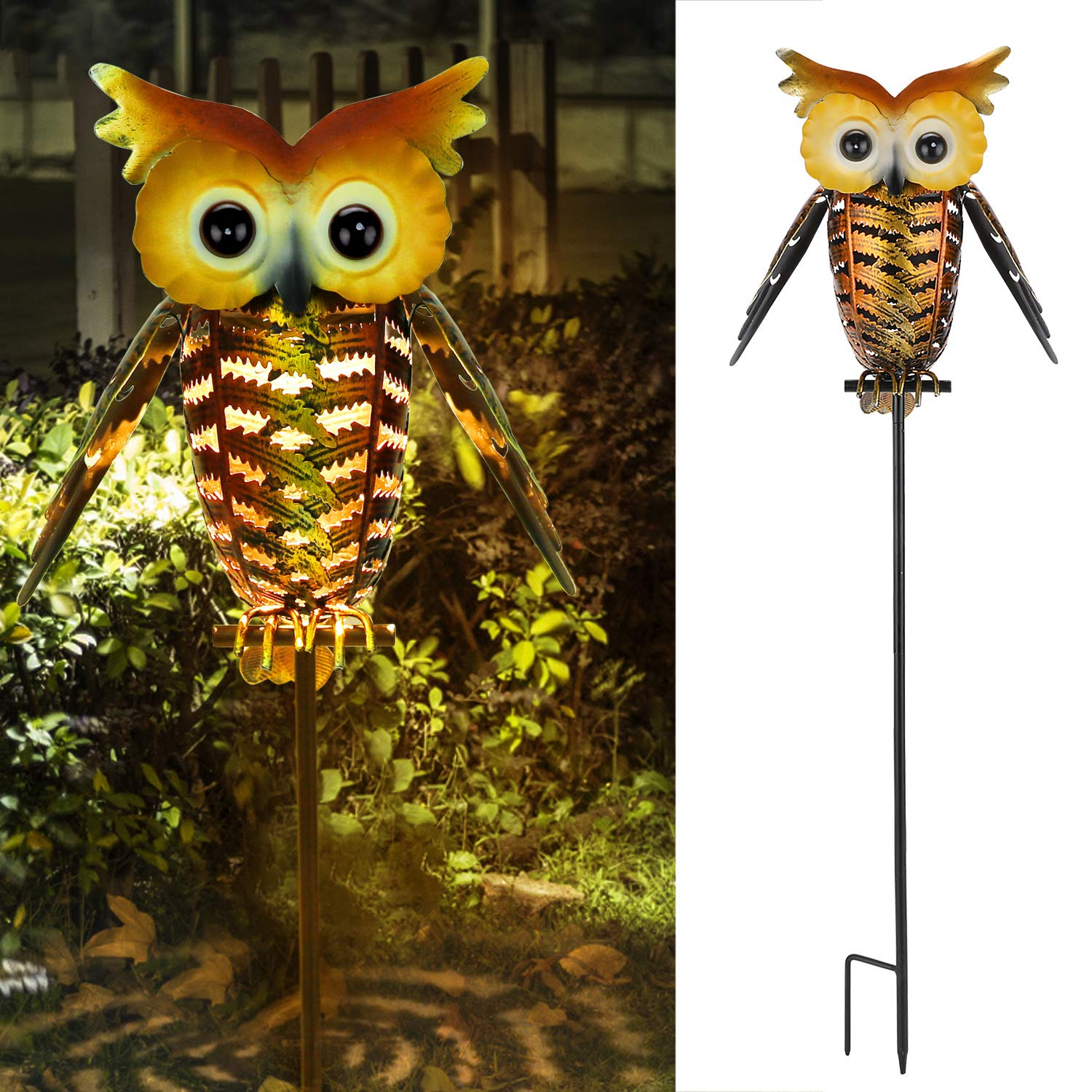 Philonext Garden Solar Outdoor Lanterns,Lights Hanging Outdoor, Adorable and Full of Character Owl Solar Light, Decorative Garden Lights for Walkway,Pathway,Yard,Lawn