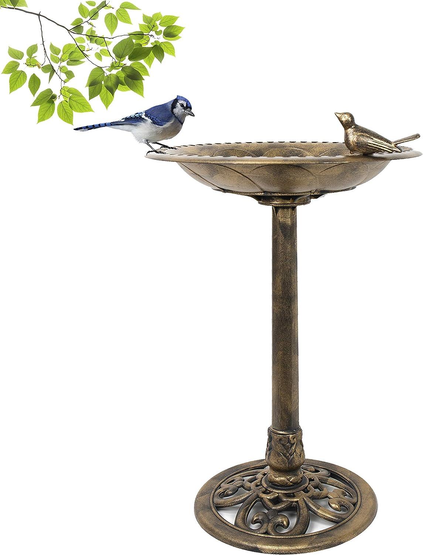 Pedestal Bird Bath Antique Fountain for Outdoor & Garden Decoration | 27 Inch Height | Bronze with Bird