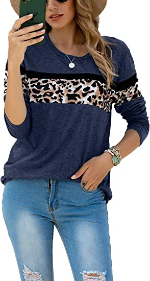 Mujer Camiseta Leopardo Manga Larga Blusas y Camisas Cuello ...