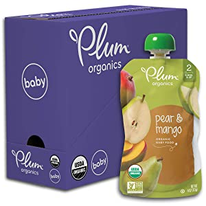 Plum Organics Stage 2, Organic Baby Food, Pear and Mango, 4 Ounce pouches (Pack of 6)